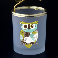 China Custom Hot Selling Alone Handmade Colour Owl Shape Candle Holder Lantern