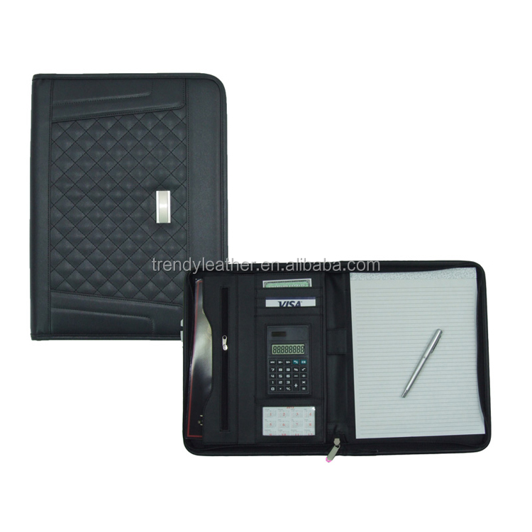 Custom A4 Conference Folder Zippered Folio Case Leather Business Portfolio Organiser