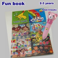 Eco Children Learning Educational Toys Leap Tag Pen and Drawing Book Fun Book for Kids Play Sticker Games 6 Books EB05