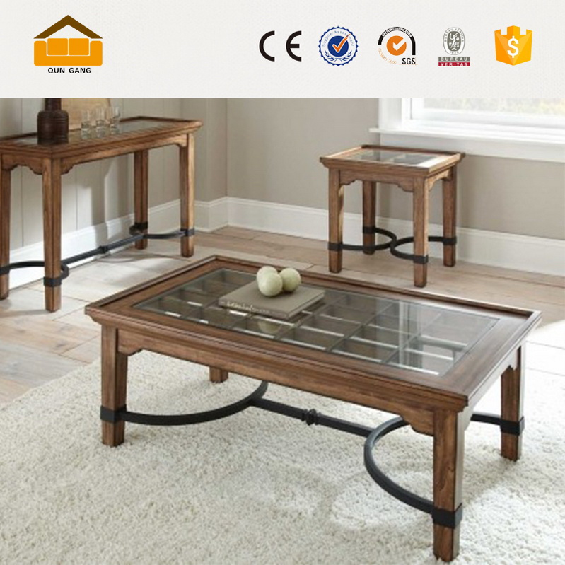 cheap and nice modern design glass and wooden tea table