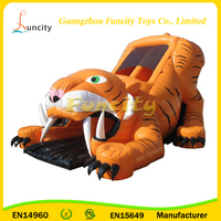 Factory Price Large Tiger Inflatable Bouncer Slide Party, Cool Design Inflatable Slip And Slide
