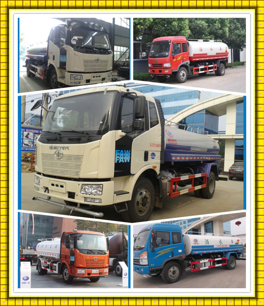 15ton Dongfeng Faw Howo Foton water tanker 15000 Liters Carbon steel Stainless tank 15cbm foton water sprinkling truck
