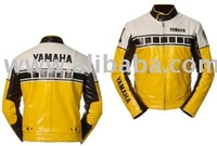 White/Yellow Motorbike Leather Jacket Suit Trouser