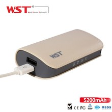 2016 New arrival QC 2.0 5200mAh power bank 2.4A quick charge external battery power for Smartphone
