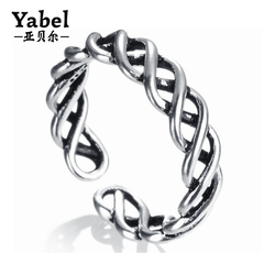 2017 Hot Dubai Design Silver Ring Interlocking Twisted Men Jewelry Arabic Engagement Rings