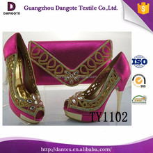 Elegant italian matching shoes and bags for women high heel shoes and bag set TY1102 in fushia