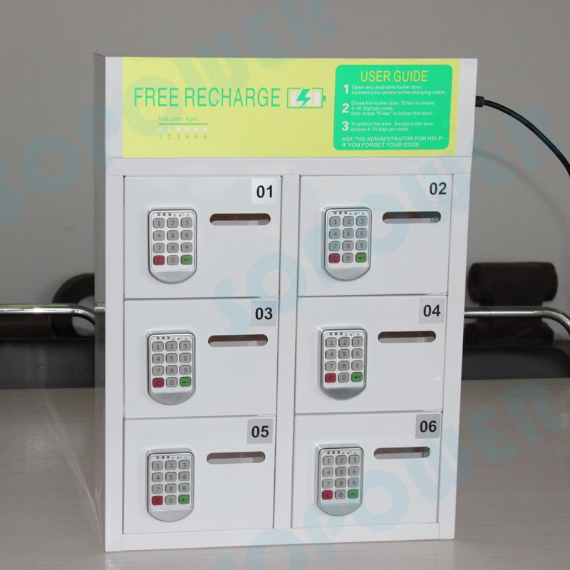 6 pin pad lock phone charging kiosk with 40 minute charging time fast charging phone machine with led charging box