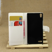 Newest classical leather flip case for huawei ascend p6