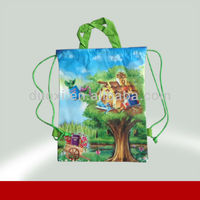 Hot sale top quality the tree house printing non woven drawstring toy bag
