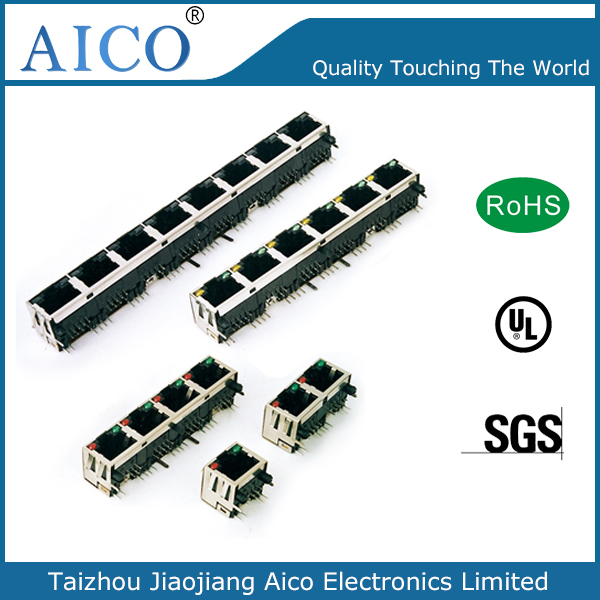 china manufacturer 90 degree multi-port cat5 rj45 t connector with LED