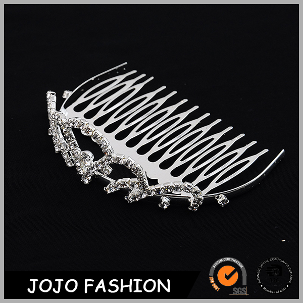 Fashion silver plated rhinestone crystal crown design bridal hair combs for wedding