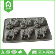 New Design Silicone 6 cups cow shape cake mold cookie mold chocolate mold for cake decoration