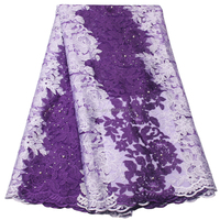 New Fashion Party Dress Tulle Design Nigerian Mesh Lace Purple and White French Lace Fabric