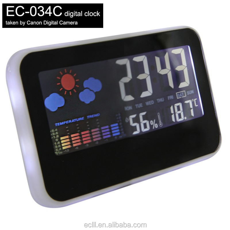 2015 multifunction decorative silent alarm clock with calendar