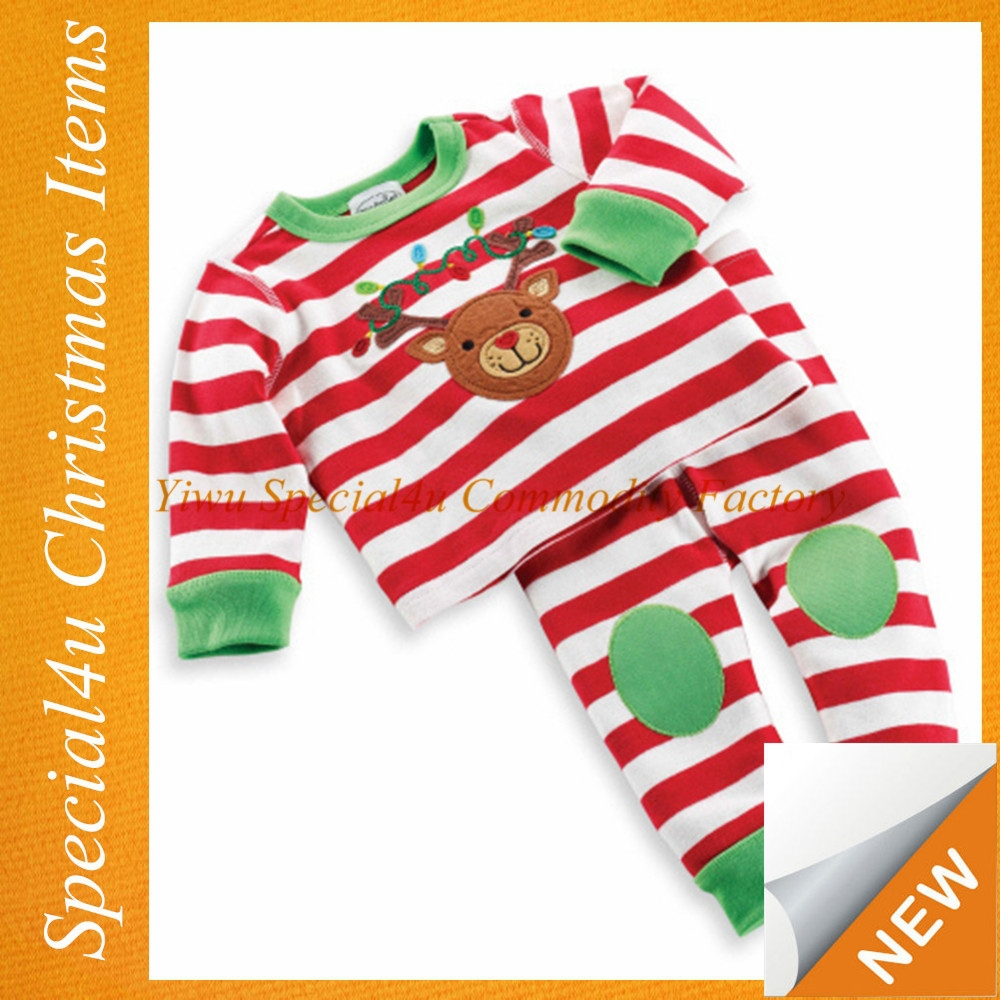 Infant christmas pajamas/striped christmas pajamas/christmas pajamas for children SFUC-061