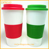 16 OZ DOUBLE WALL PLASTIC TUMBLER WITH COLOR SLEEVES,bpa free ceramic coffee mug with silicone sleeve