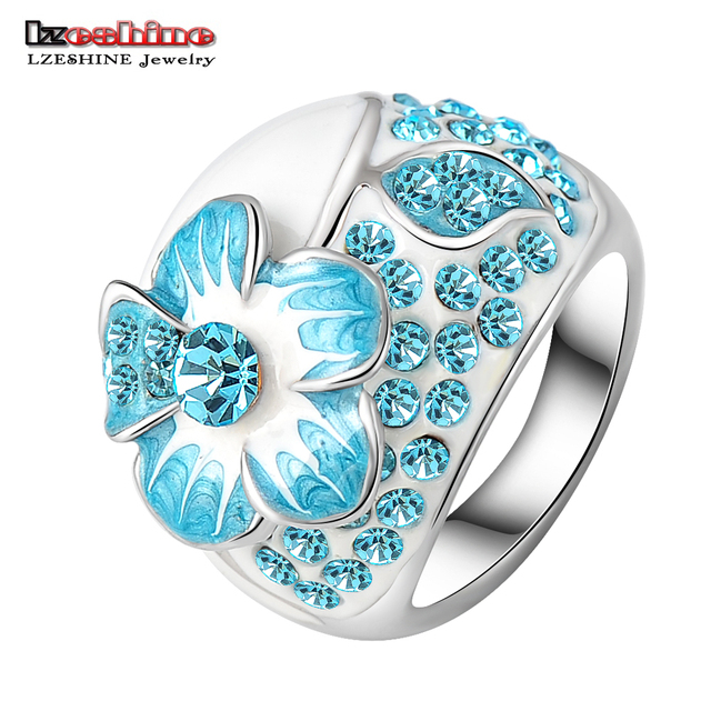 LZESHINE New Hot Fashion Enamel Jewelry Genuine SWA Elements Ring Silver Plated Blue Austrian Crystal Flower Rings Ri-HQ0015-c