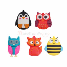 Custom rubber usb pen drives soft pvc 3D fox owl penguin bee design usb stick free sample 1gb