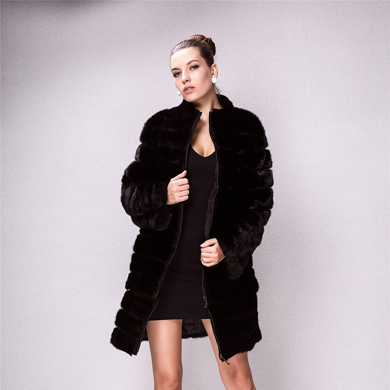 2019 High Quality Winter Sexy Women Knitted Natural Real Rabbit Fur Coat