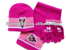 Eco-friendly kids winter hats scarf gloves 3 pcs set,cheap price winter knit sets for children