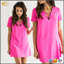 Ecoach women's Nice design pink v neck casual dress short sleeve women casual one piece dress
