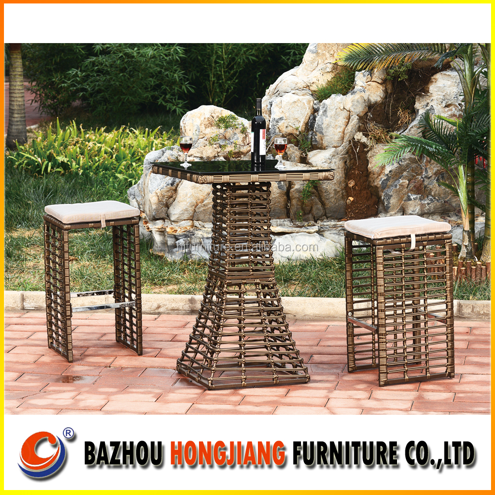 All Weather Black Rattan Garden Drinks Bar Stool Furniture Dining Set