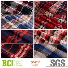 woven yarn dyed plaid cotton light weight herringbone twill fabrics