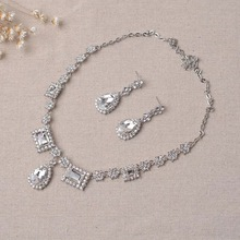 2017 New Fashion Diamond Bridal Necklace and Earrings Cubic Zirconia Wedding Jewelry Sets For Brides