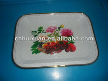 "12""plastic rectangle flat printing dish with metal ring"