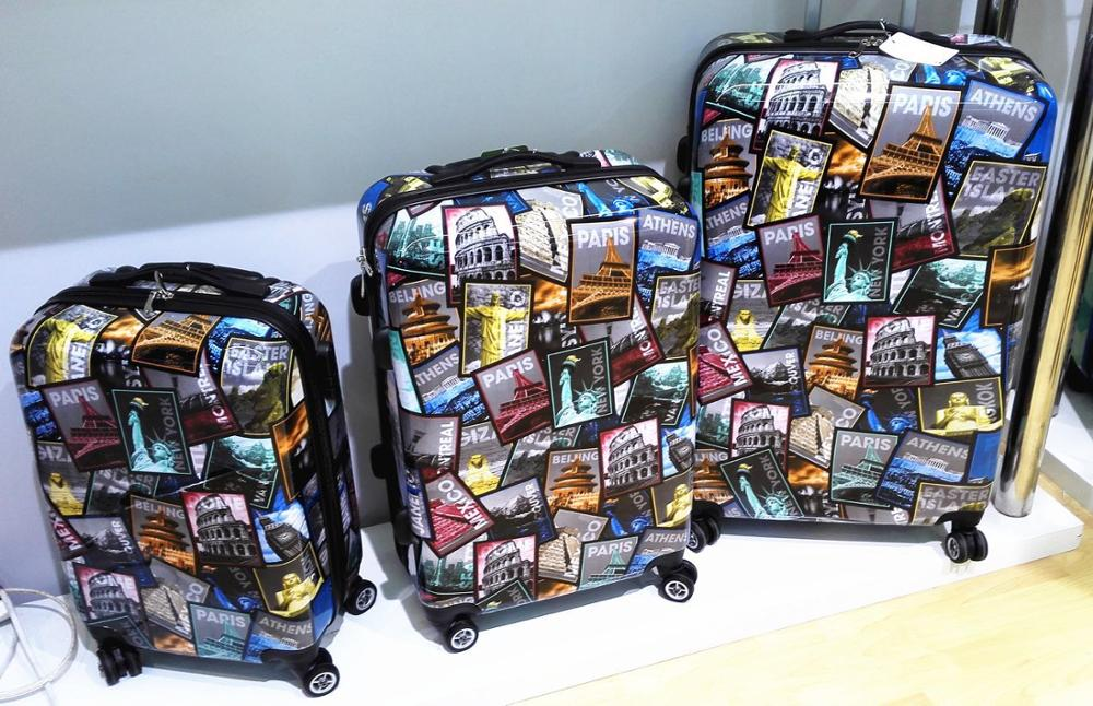 Cartoon figure picture 3 pcs pc travel trolley luggage set wholesale new style