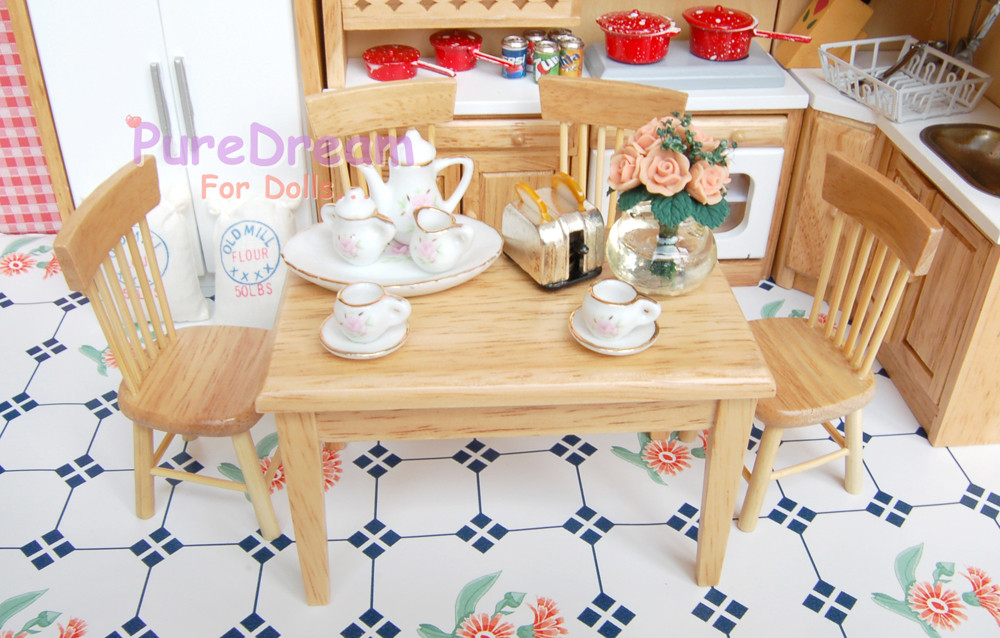 Dollhouse Miniature Furniture Dining set/5 one table with four side chairs WD016