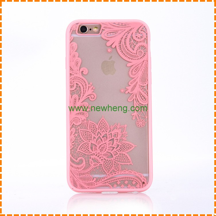 Fashion Lace floral Pattern tpu+pc hard matte back cover case for Iphone 7 plus
