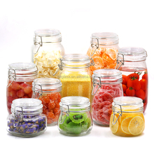 Kitchen Food Storage Airtight Seal Lock Lid Jar/glass Jar With Metal Clip