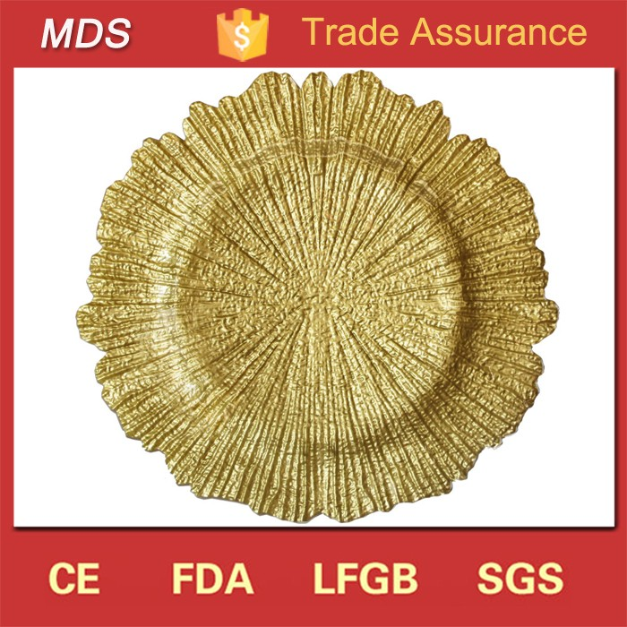 Decoration reef flora gold glass charger plates for wedding