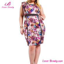 Wholesale floral printed bodycon womens plus size dresses