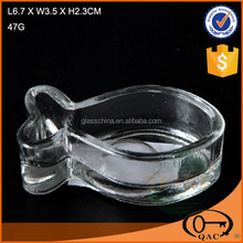 clear cute fish shape useful glass candle holder for home decor
