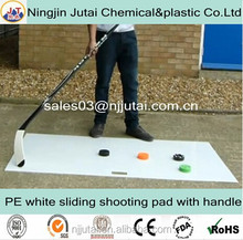 White film coating sliding HDPE hockey shooting pad