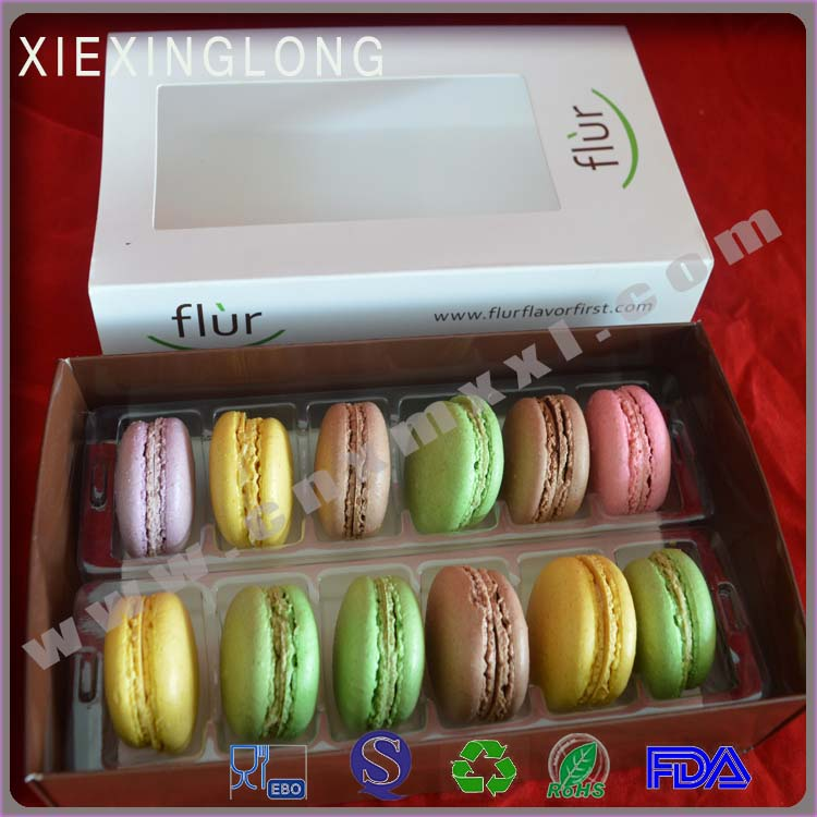 12 packs macarons paper box with plastic tray