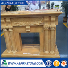 decorative orange onyx marble fireplace mantel