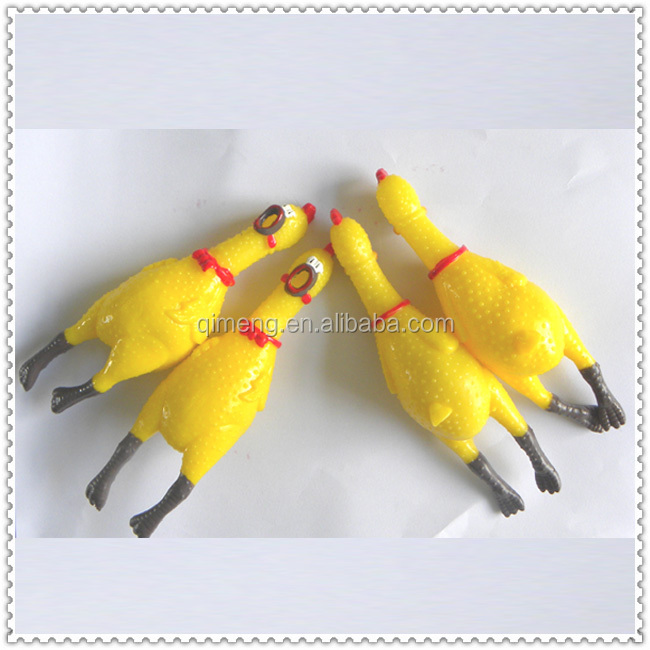 TPR Rubber Sticky Animal Yellow Chicken interesting squeezable soundable shrilling toys can lay eggs customized cute stress ball