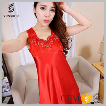 New Arrivals comfortable red women silk satin sexy nighty dress picture