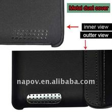New for Napov iPad 2 leather case with Metal dust and logo plastic cover