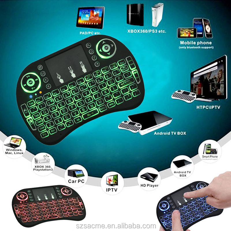 backlit 2.4G Remote Control Mini Wireless Kerbord Air Mouse I8 Keyboard For Android TV Box And Laptop