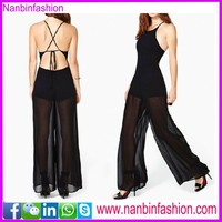 wholesale black sleeveless backless loose lace jumpsuit