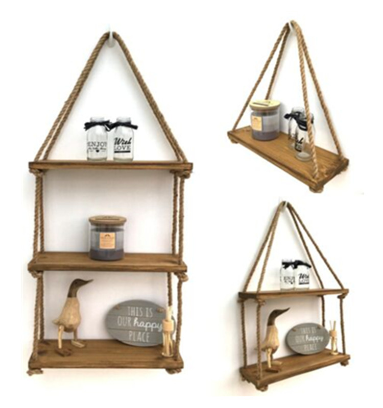 Decorative Rustic Floating Wooden Corner Wall Shelf Vintage Wood Hanging Rope Swing Shelves