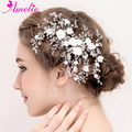 Wedding Accessories Porcelain Blossom Crystal Hair Side Clip Bridal Bridesmaid Headpiece Jewelry Rhinestone Floral Hairgrips
