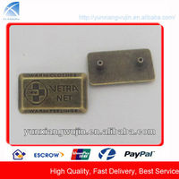 CD8231 Custom Brass Metal Logo Tags for Handbags