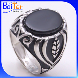 Arab classical white gold plated black agate stone men finger gemstone ring