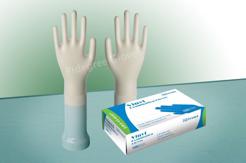 Best sale hand care industry food grade stretch blue powder free vinyl gloves