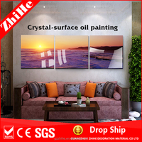 wholesale dropshipping sunrise polyresin seascape oil painting canvas painting prices for home decor